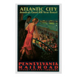 Atlantic City, New Jersey Vintage Travel Poster