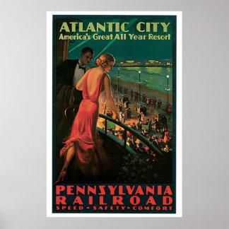 Atlantic City, New Jersey Vintage Travel Poster