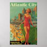 Atlantic City, New Jersey Vintage Travel Print