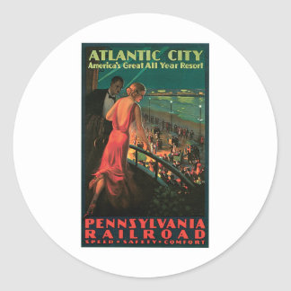 Atlantic City New Jersey Vintage Travel Round Stickers