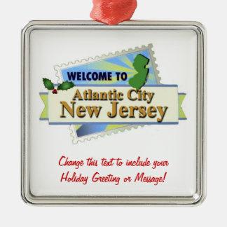 Atlantic City NJ Adorno Navideño Cuadrado De Metal