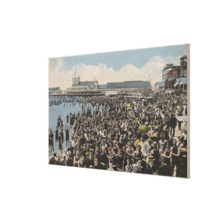 Atlantic City, NJ - Holiday Crowd at the Beach Canvas Print