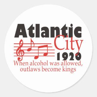 Atlantic City Pegatina Redonda