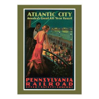 Atlantic City Pennsylvania Railroad Vintage Personalized Announcements