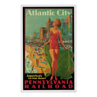 Atlantic City Pennsylvania Railroad Vintage Poster