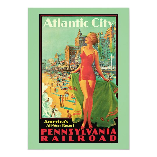 Atlantic City - Pennsylvania RR Vintage Travel Card