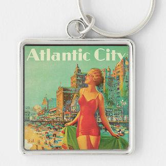 Atlantic City - Pennsylvania RR Vintage Travel Silver-Colored Square Keychain