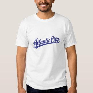 Atlantic City script logo in blue T-shirt