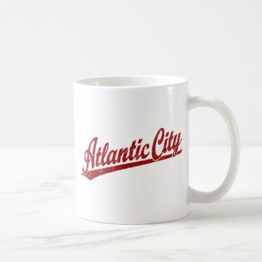 Atlantic City script logo in red Classic White Coffee Mug