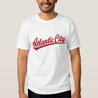 Atlantic City script logo in red Tee Shirt