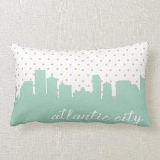 Atlantic City skyline mint polka dot Lumbar Pillow