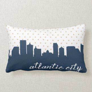 Atlantic City skyline navy polka dot Lumbar Pillow