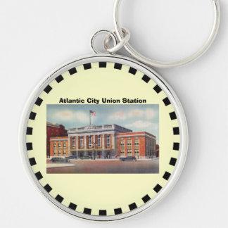 Atlantic City Train Station PRSL 1936 Silver-Colored Round Keychain