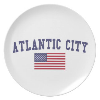 Atlantic City US Flag Melamine Plate