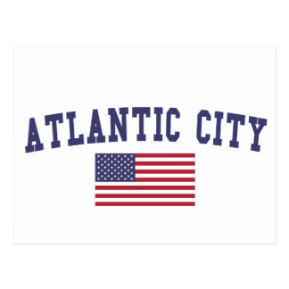 Atlantic City US Flag Postcard
