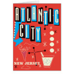Atlantic city Vintage gambling travel poster Card