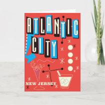 Atlantic city Vintage gambling travel poster Holiday Card