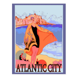 Atlantic City Vintage Poster 2 Postcard