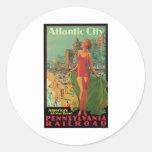 Atlantic City Vintage Travel Classic Round Sticker