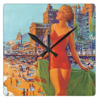 Atlantic City Vintage Travel Poster Square Wall Clock