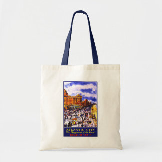 """Atlantic City"" Vintage Travel Poster Tote Budget Tote Bag"