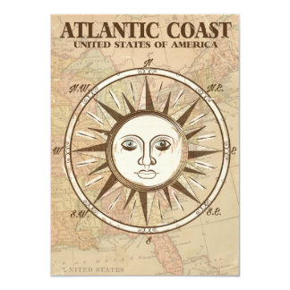 Atlantic Coast USA vintage travel poster Card