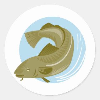atlantic codfish haddock fish classic round sticker