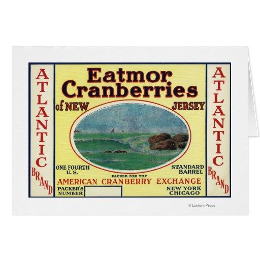 Atlantic Eatmor Cranberries Brand Label Greeting Card