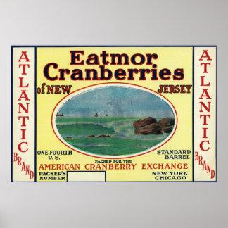 Atlantic Eatmor Cranberries Brand Label Poster