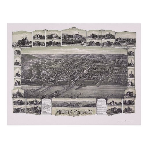 Atlantic Highlands, NJ Panoramic Map - 1894 Poster
