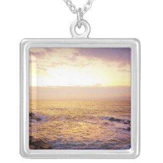 Atlantic Ocean at sunrise, view from Portland Silver Plated Necklace