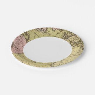 Atlantic Ocean Atlas Map Paper Plate