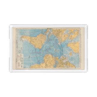 Atlantic Ocean Map Rectangle Serving Trays