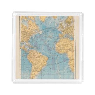 Atlantic Ocean Map Square Serving Trays
