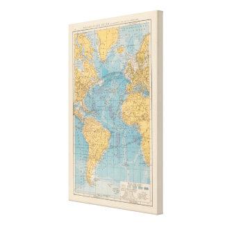 Atlantic Ocean Map Canvas Print