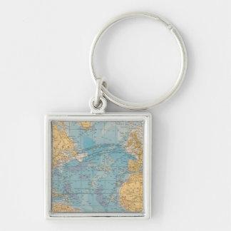 Atlantic Ocean Map Keychains