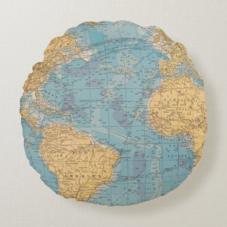 Atlantic Ocean Map Round Pillow