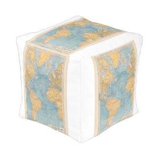 Atlantic Ocean Map Cube Pouf