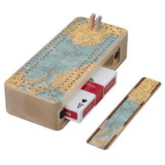 Atlantic Ocean Map Wood Cribbage Board