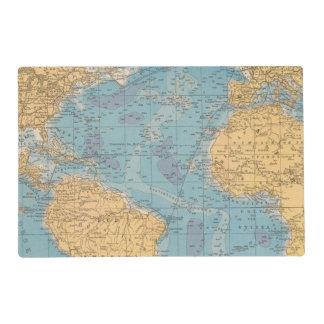 Atlantic Ocean Map Laminated Place Mat
