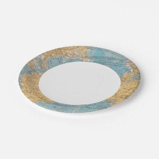 Atlantic Ocean Map Paper Plate