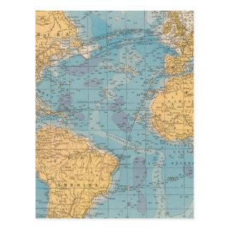 Atlantic Ocean Map Postcard