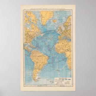 Atlantic Ocean Map Print