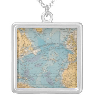 Atlantic Ocean Map Silver Plated Necklace