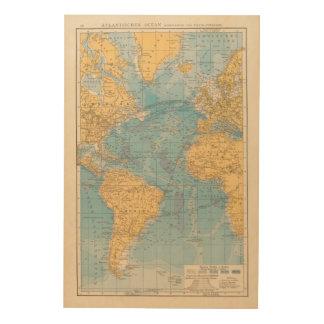 Atlantic Ocean Map Wood Canvas