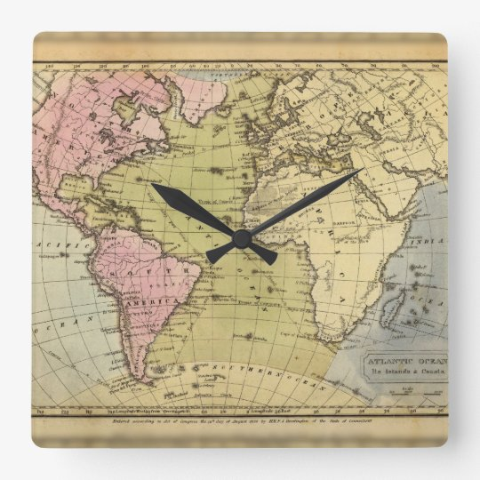 Atlantic Ocean. Square Wall Clock