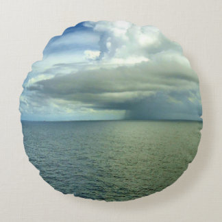Atlantic Ocean Storm Clouds Round Pillow