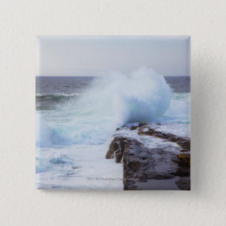 Atlantic Ocean Wave Crashing into Maine's Coast Button