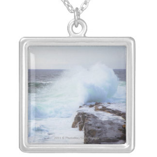 Atlantic Ocean Wave Crashing into Maine's Coast Silver Plated Necklace