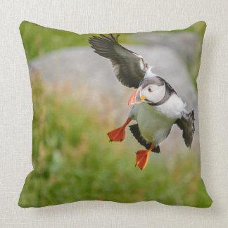 Atlantic Puffin bird flying throw pillow
